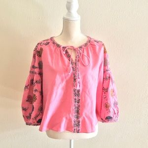 ZARA EMBROIDERED FLORAL PINK BLOUSE  💕